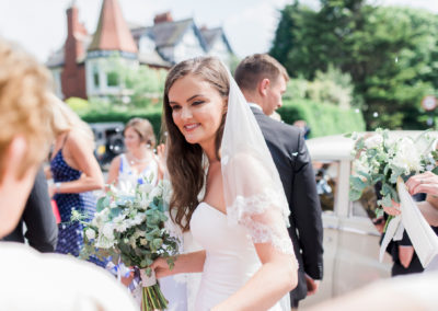 bride outside church in lytham