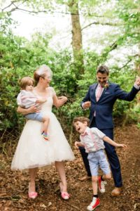 family wedding in the woods