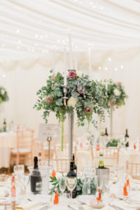 floral centrepiece at the lakeside marquee, Thornton Manor