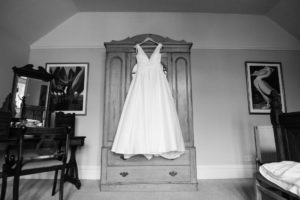 wedding dress hanging on wardrobe at wyresdale park