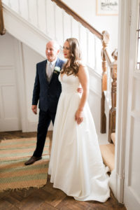 bride and her dad just before getting married
