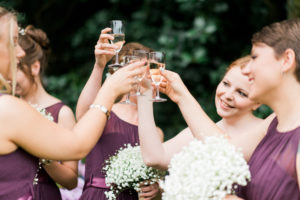 bridesmaids toasting at wyresdale park