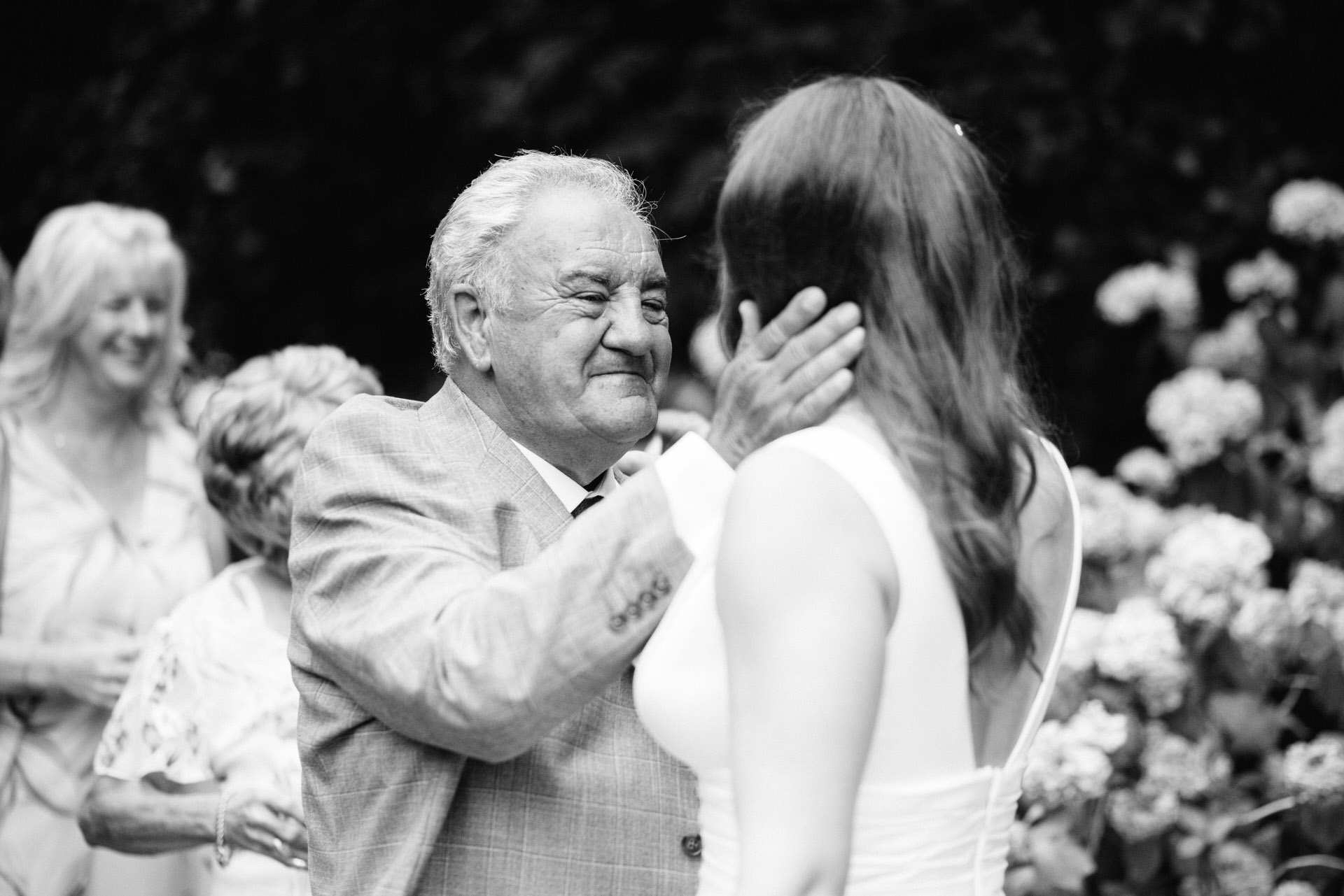 grandad and granddaughter on wedding day