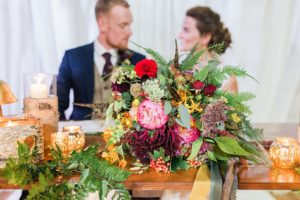 bright and colourful bouquet at rivington barn