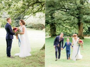 bride and groom with their little boy at rivington barn