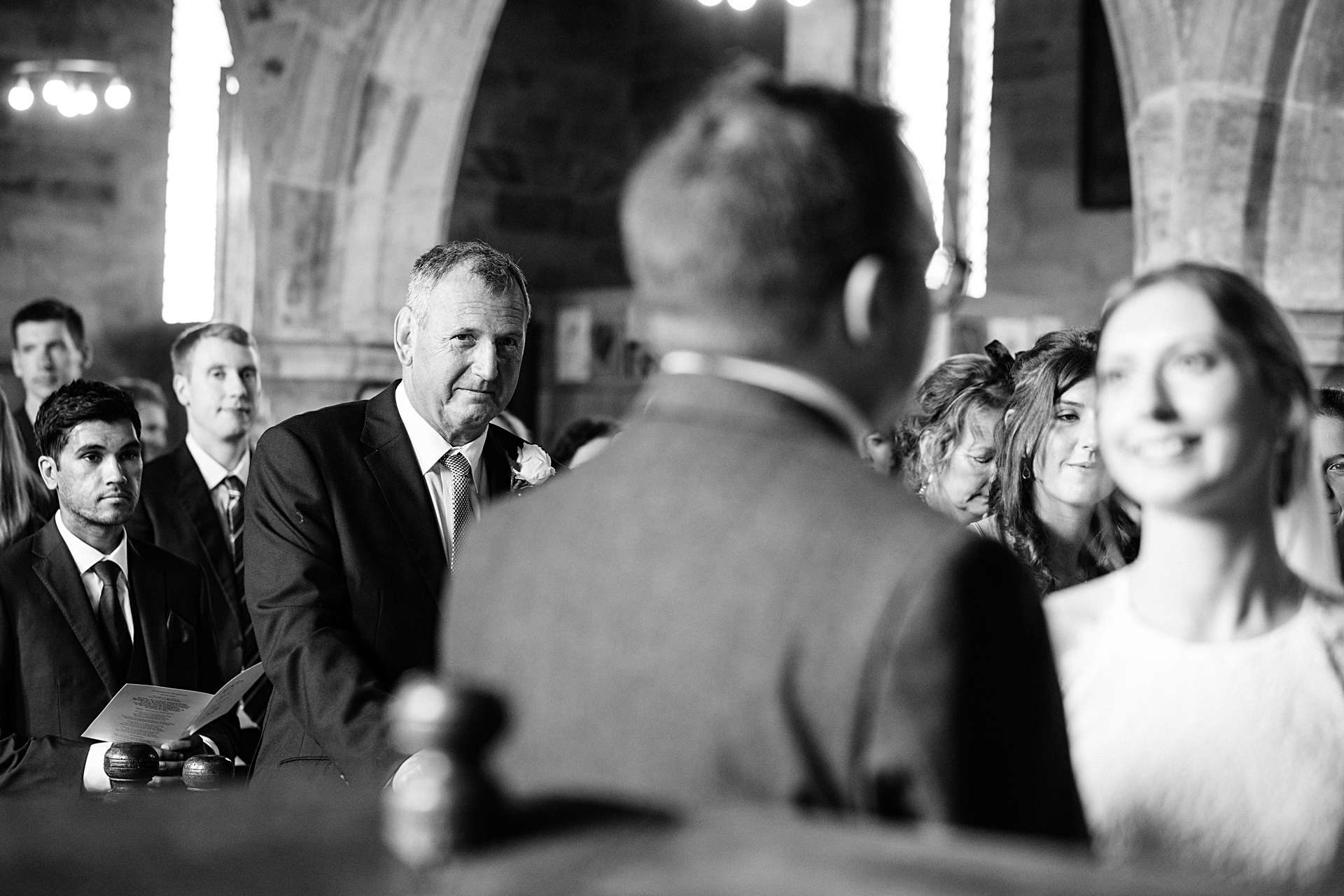 father of the bride looks on at crayke church