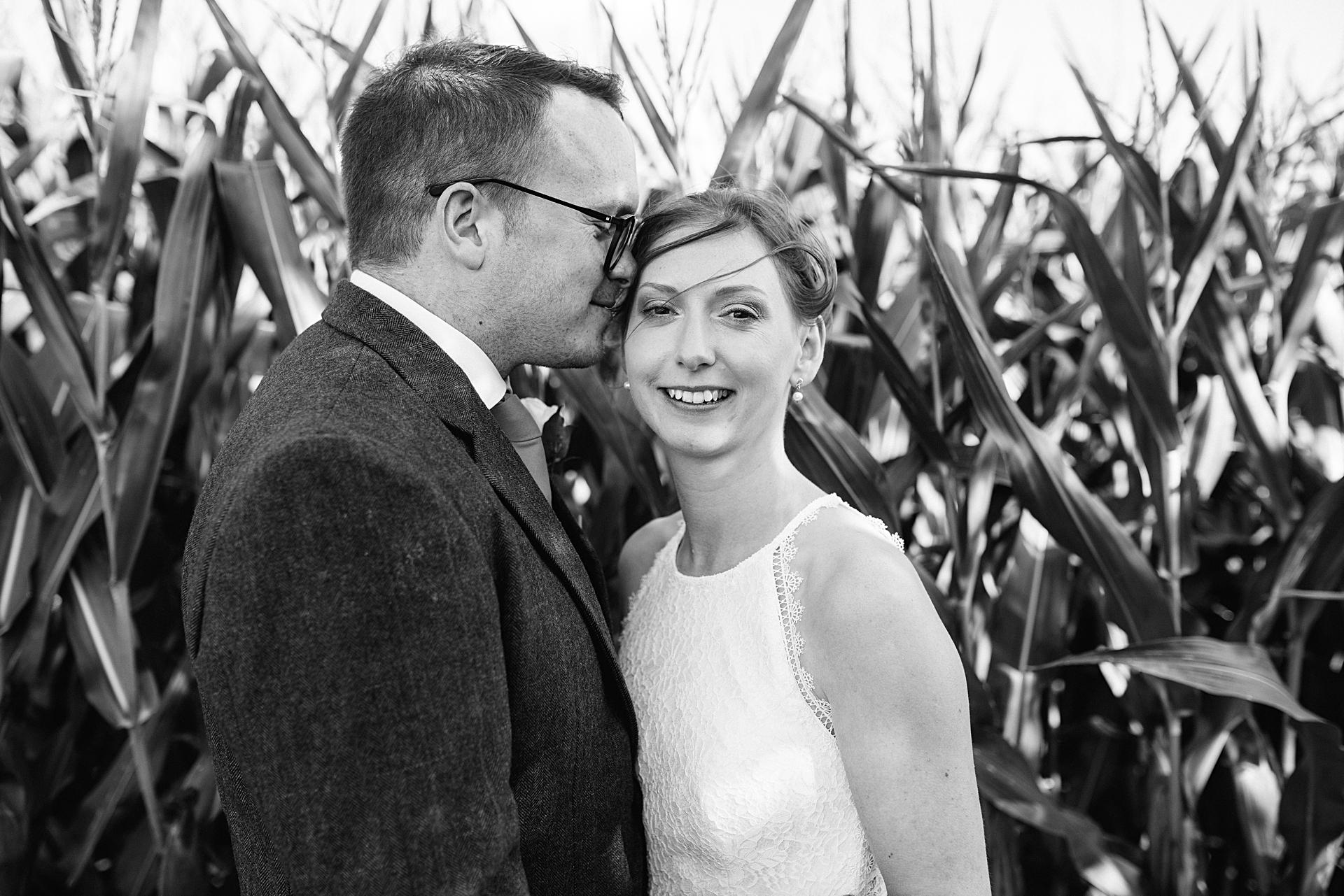 bride and groom in maize field at North Yorkshire wedding