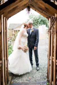 bride and her dad at wellbeing farm