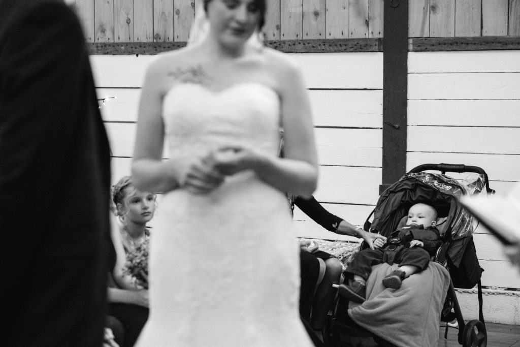 bride and groom's little boy during ceremony
