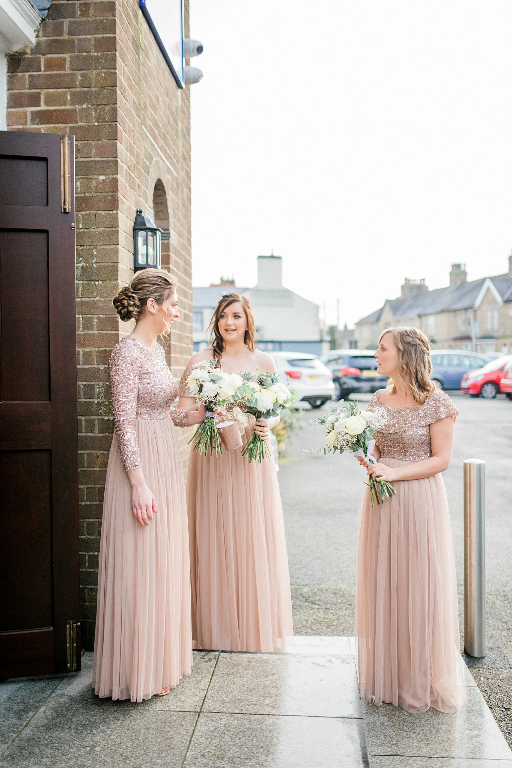 bridesmaids outside carnforth church