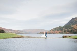 bride and groom at Lake District wedding