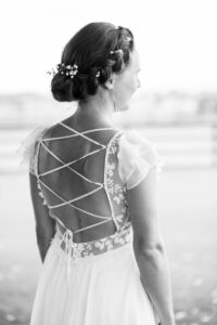 Lake District wedding bride with backless dress