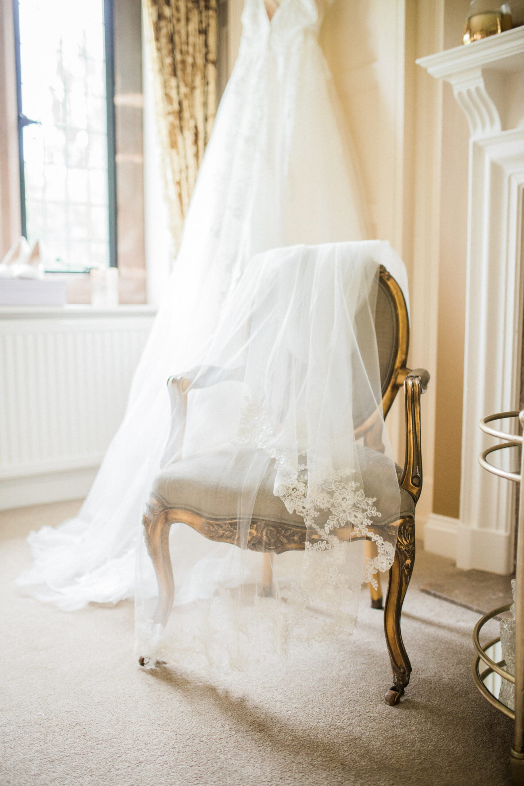 veil over chair at colshaw hall wedding