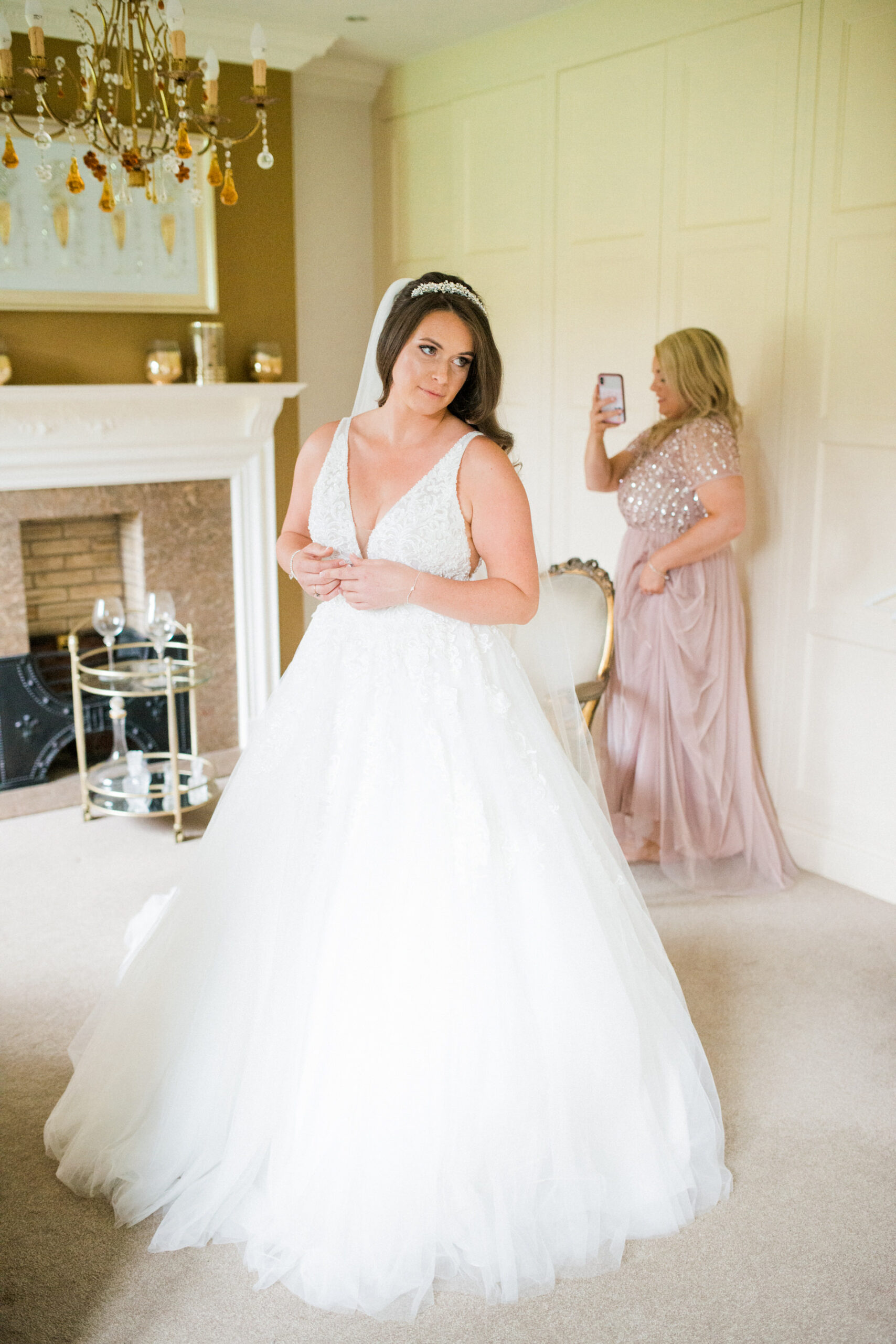 bride in dressing room at colshaw hall