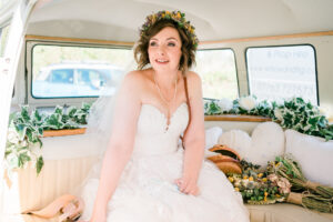 bride with flower crown in VW