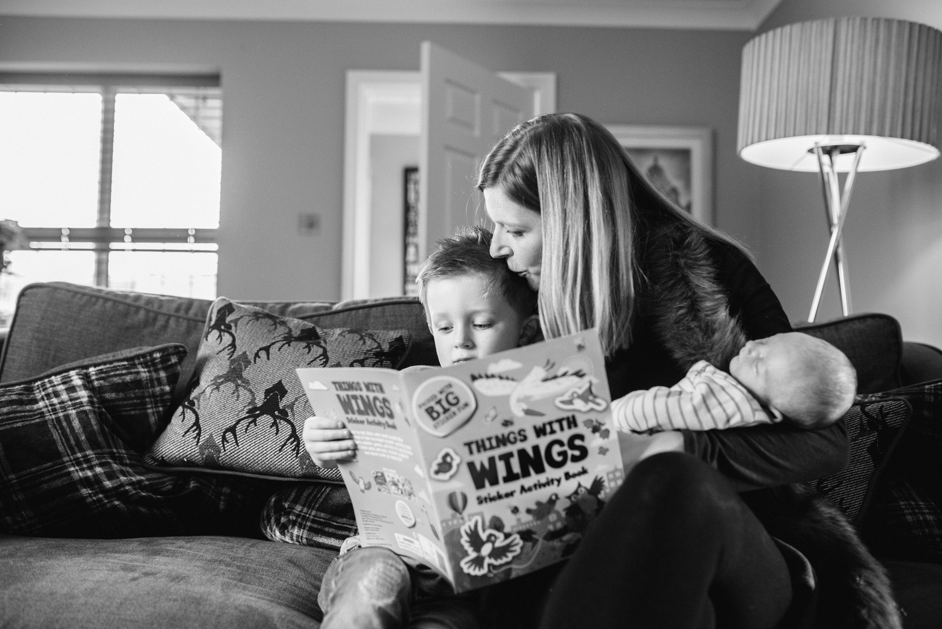 photo of family reading books