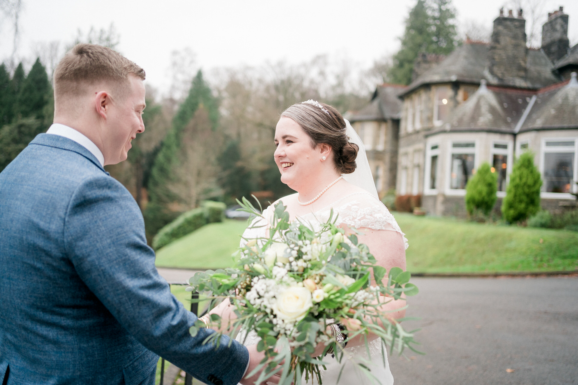 dress reveal at Lake District elopement