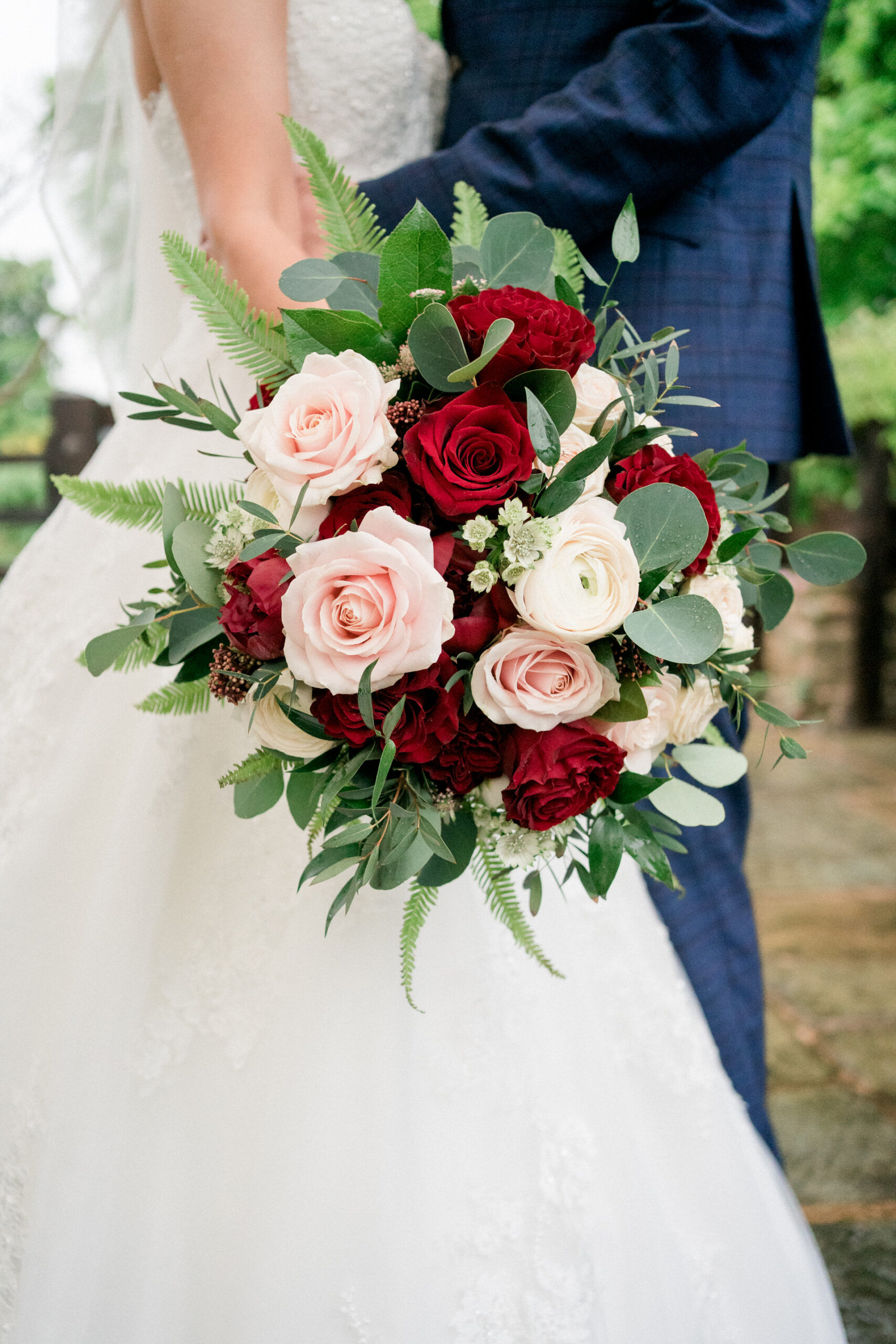 wedding bouquet with red roses by Lancashire floristry