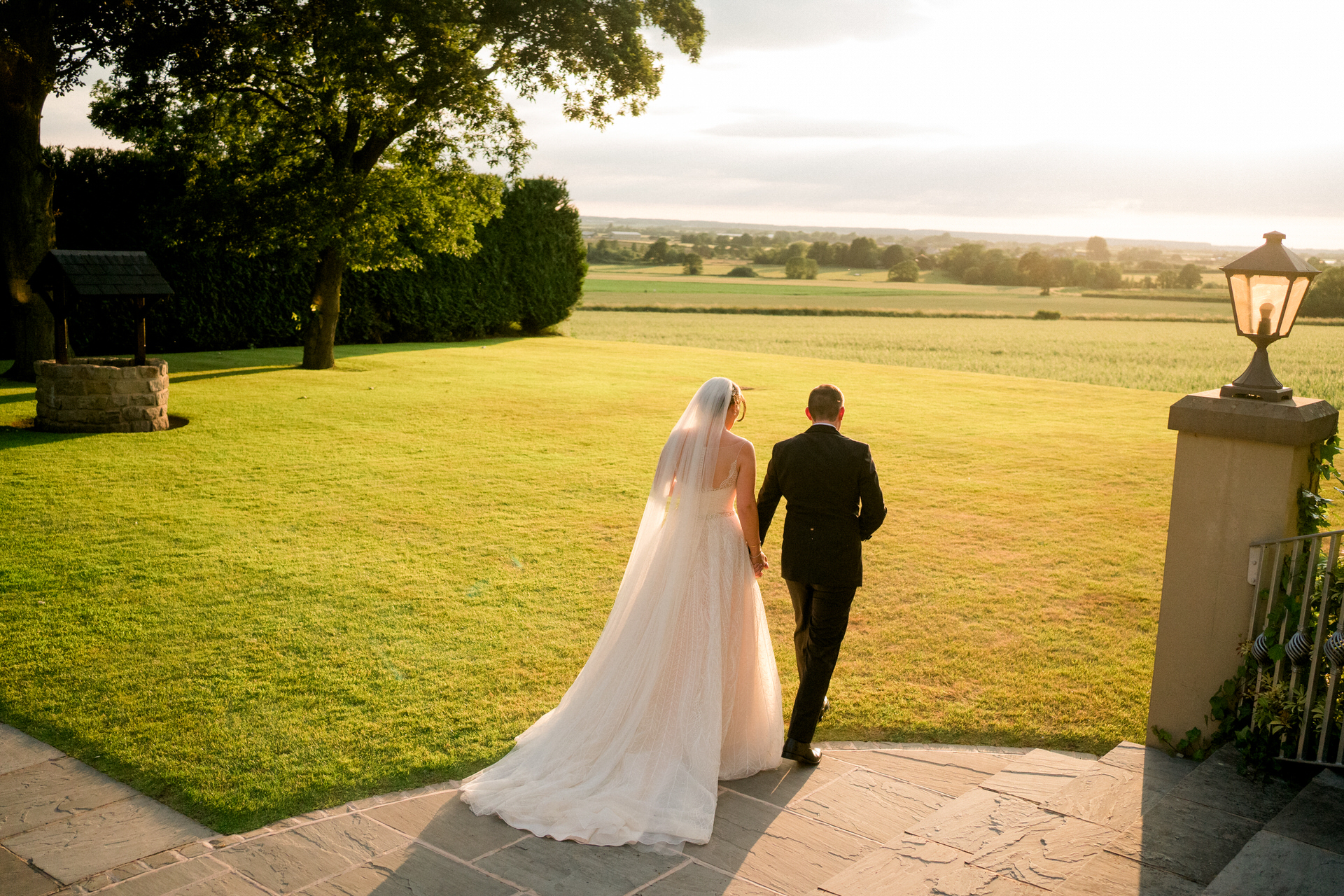bride and groom in sunset at West Tower