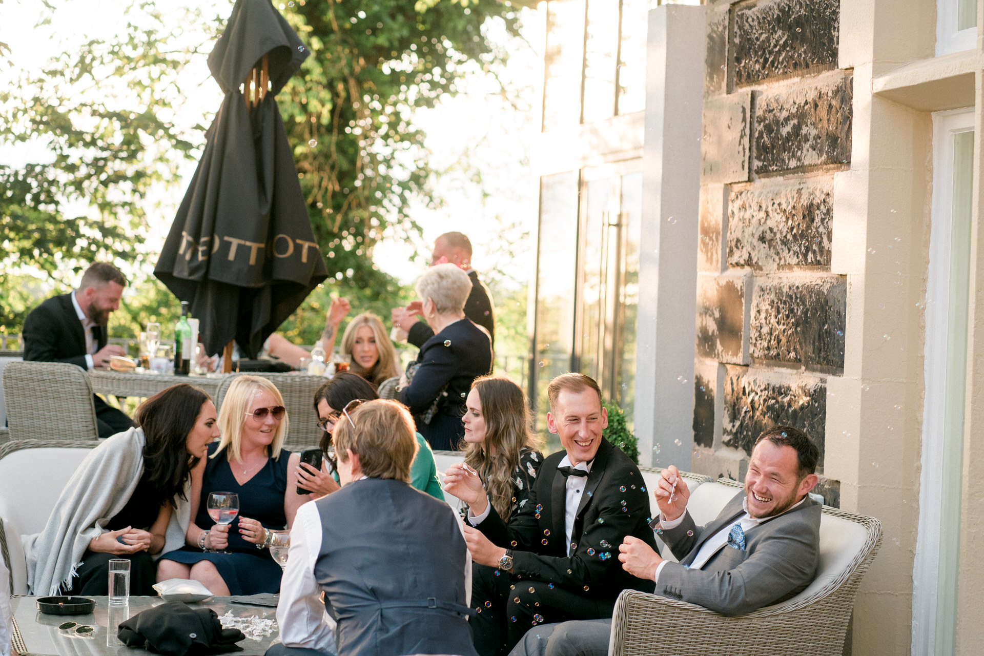 guests relaxing at west tower wedding