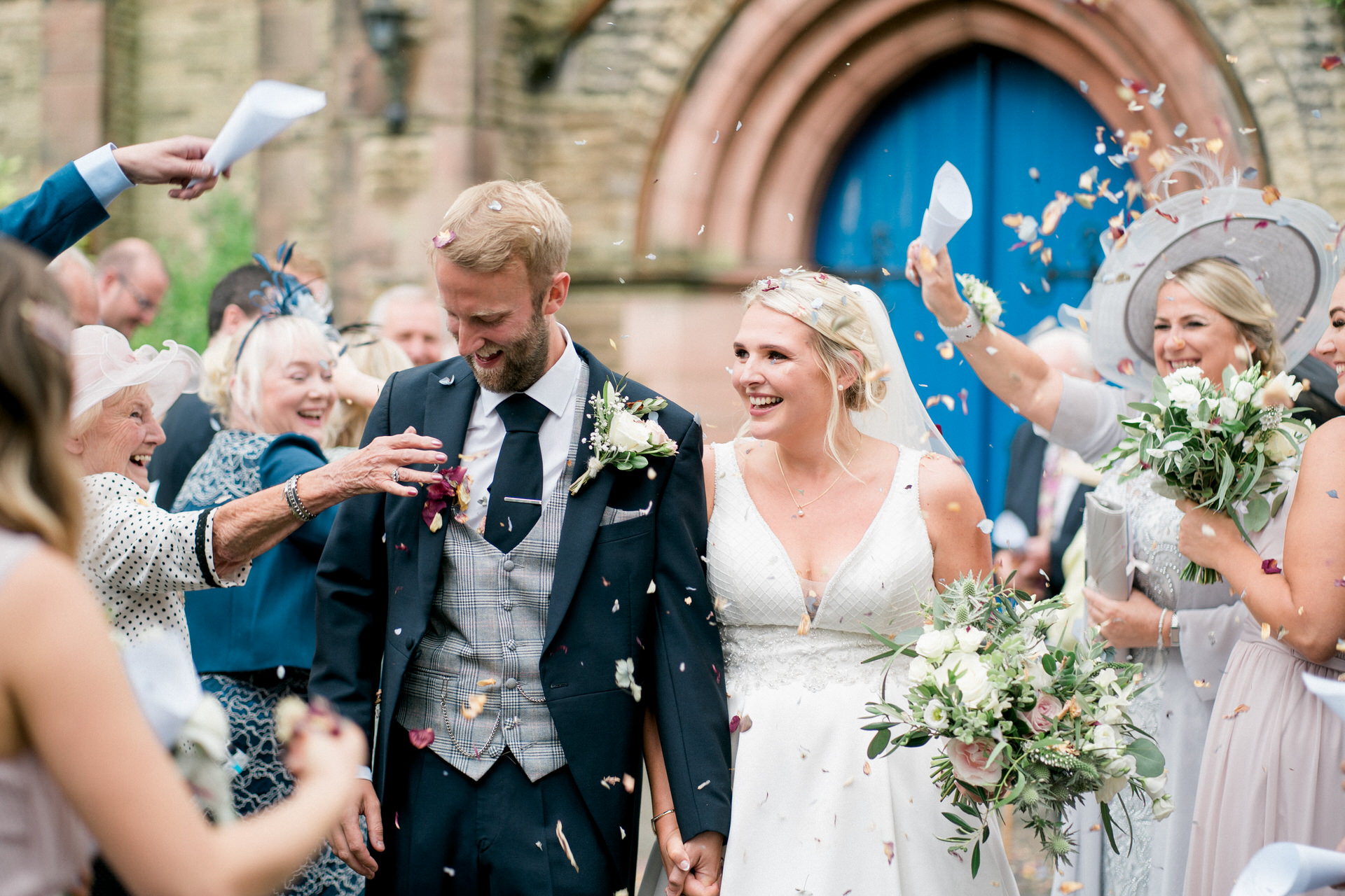 confetti at st andrews church in longton
