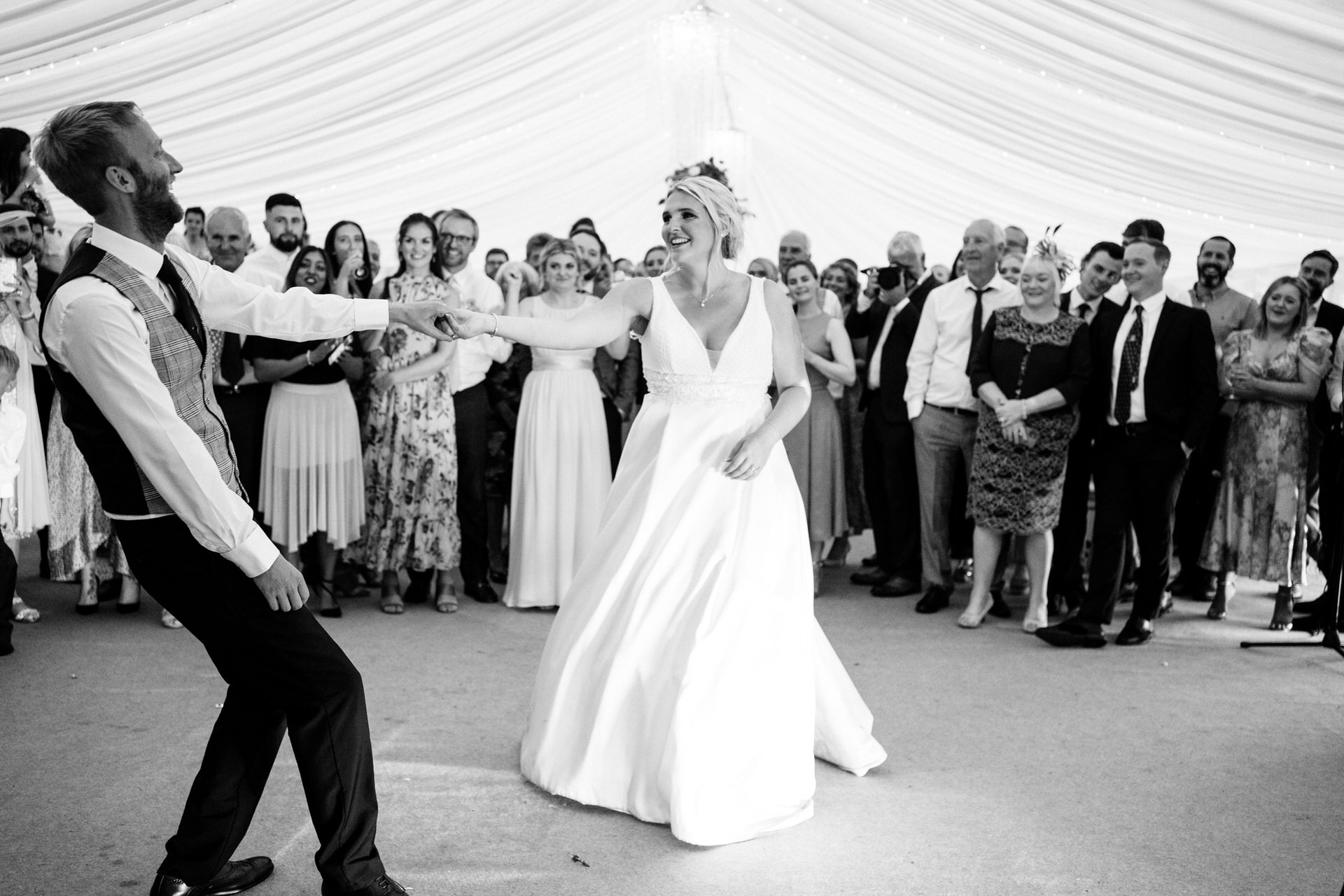 first dance at marquee wedding
