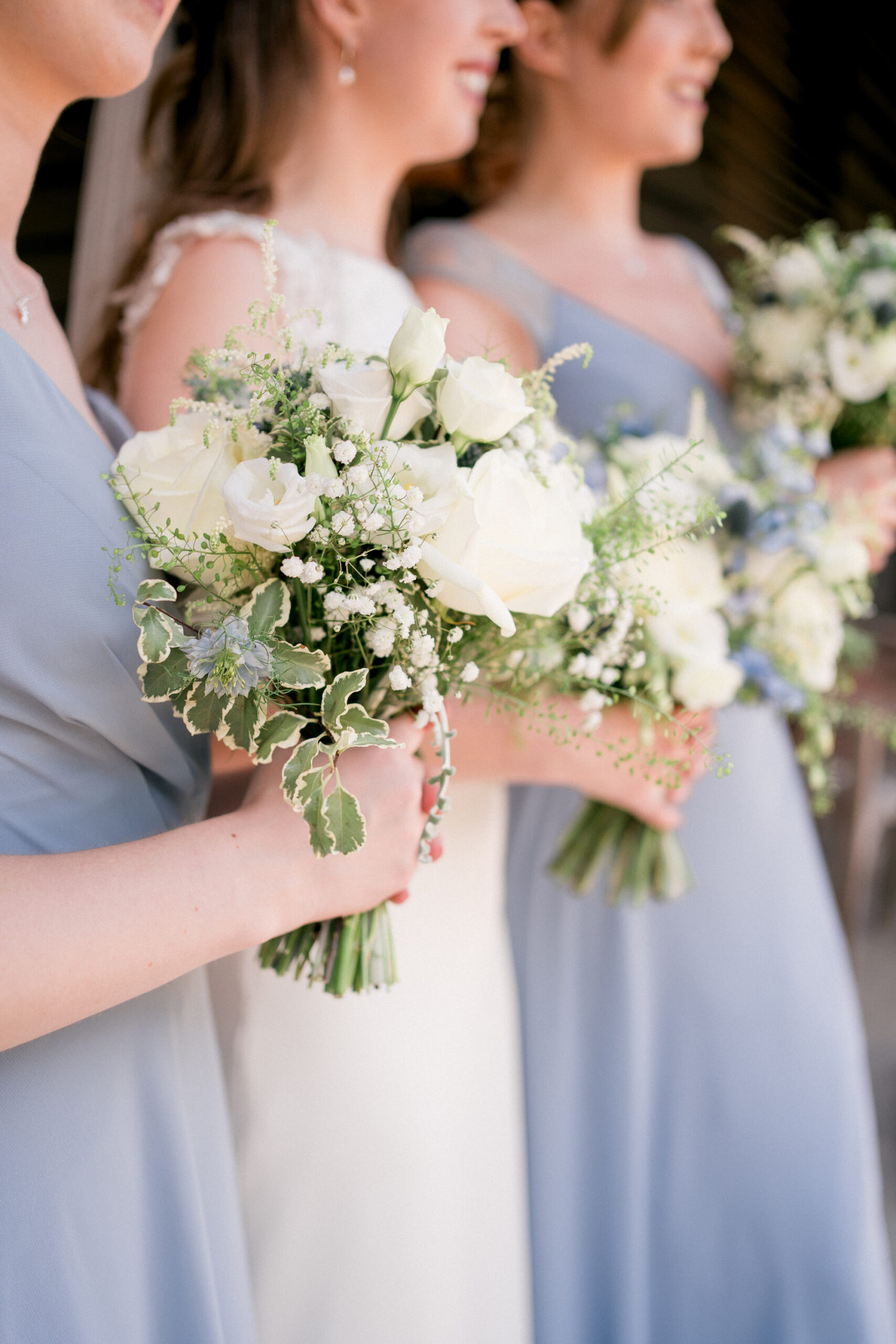 Andrew Fleming florist bouquets in blue and cream