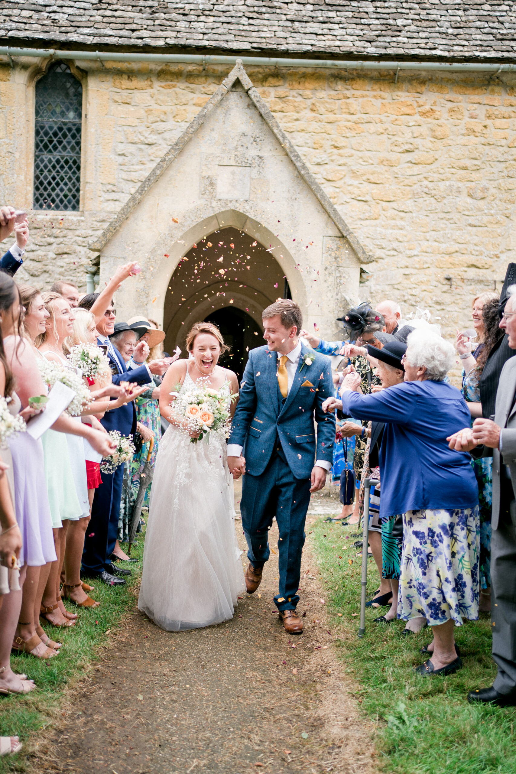confetti at church in the cotswolds