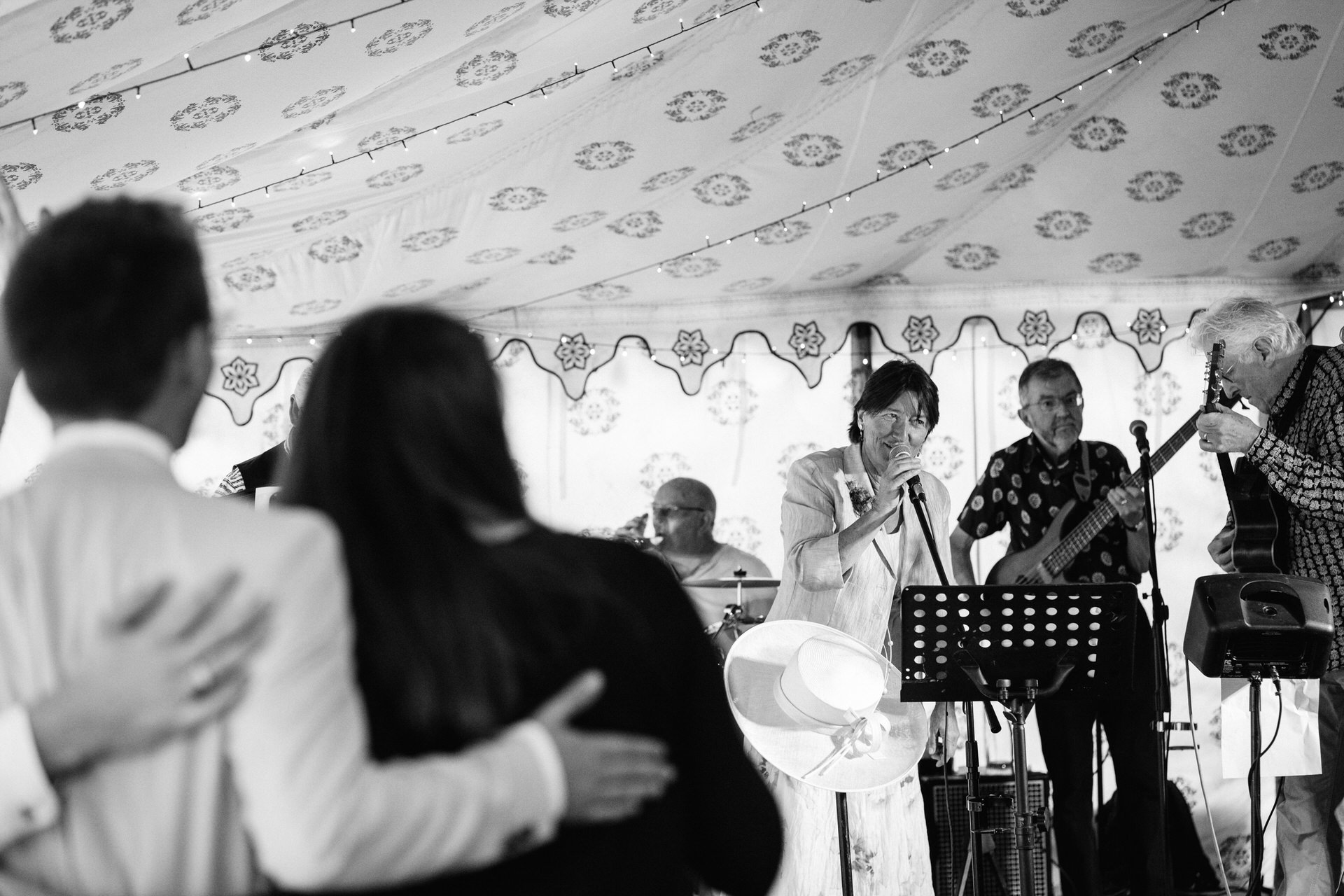 wedding band in marquee