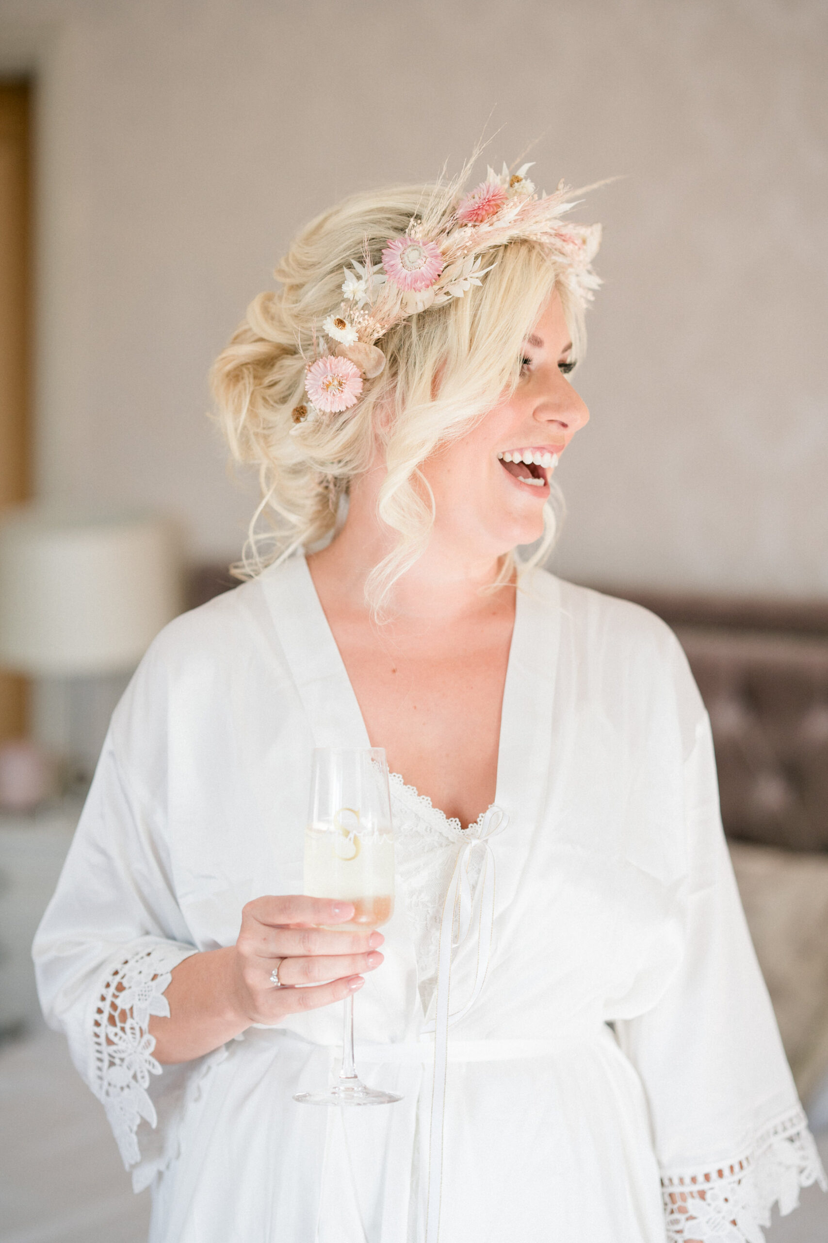 bride with contemporary flower crown