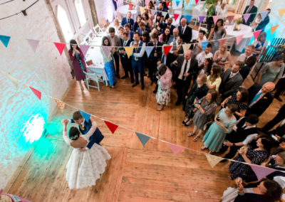 first dance shot from above through bunting