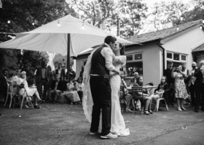 first dance outdoors at spring cottage in Irvington