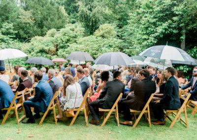 outdoor wedding under umbrellas