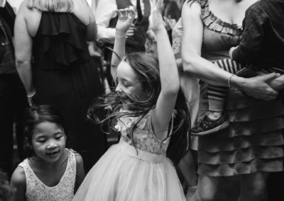 little girl with long hair dancing