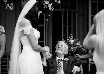 bride holding grandads hand