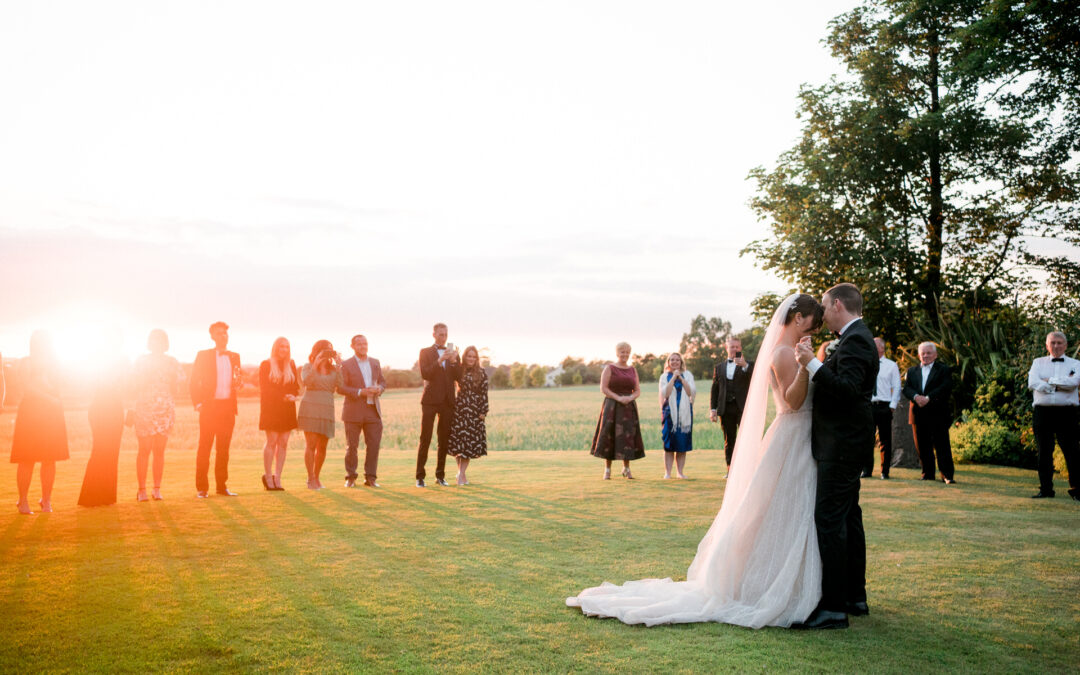 A West Tower Wedding with outdoor dancing at sunset